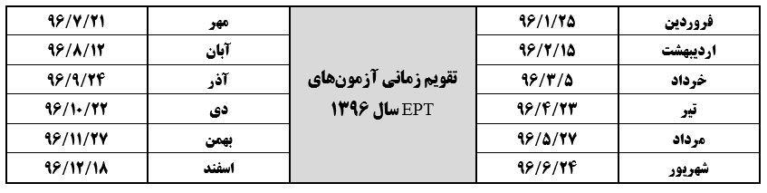 تقویم آموزشی زبان ept