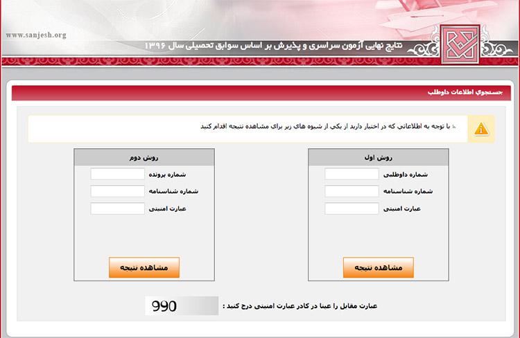 نتایج انتخاب رشته کنکور سراسری دانشگاه دولتی ۹۶