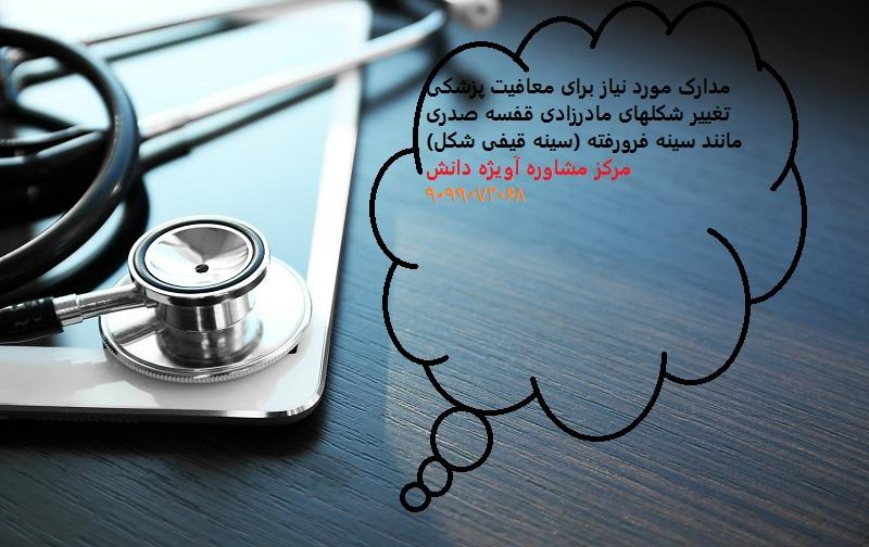 مدارک مورد نیاز برای معافیت پزشکی تغییر شکلهای مادرزادی قفسه صدری مانند سینه فرورفته (سینه قیفی شکل)