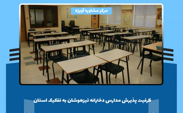 ظرفیت پذیرش مدارس دخترانه تیزهوشان به تفکیک استان
